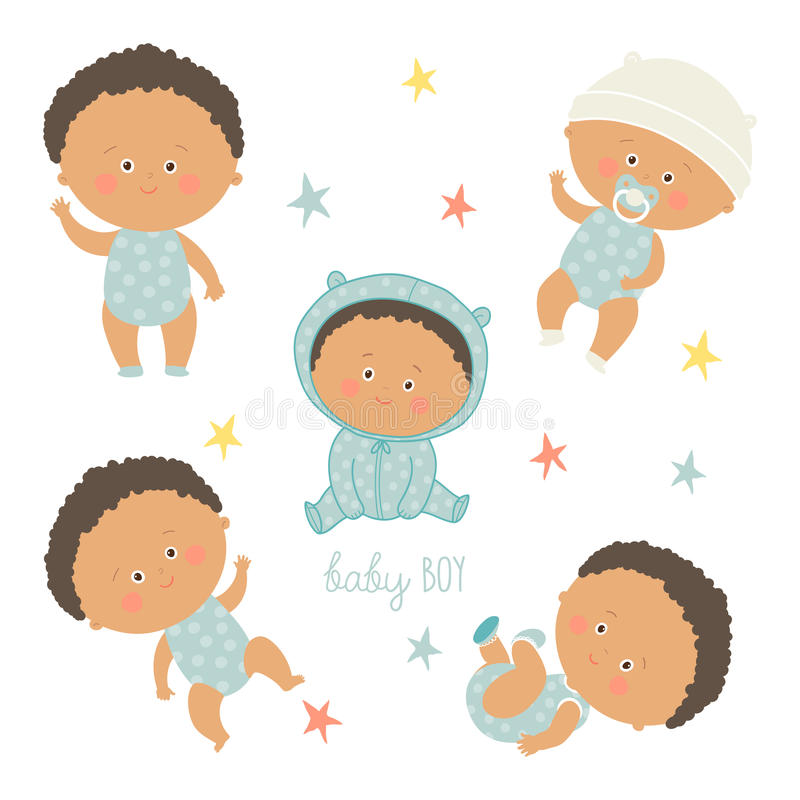 African baby set. African American toddler boys. Cartoon vector hand drawn eps 10 illustration isolated on white background stock illustration