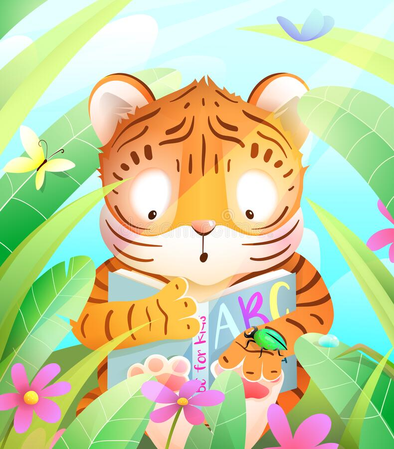 Free African Baby Tiger Reading Book In Jungle Royalty Free Stock Photography - 218305817