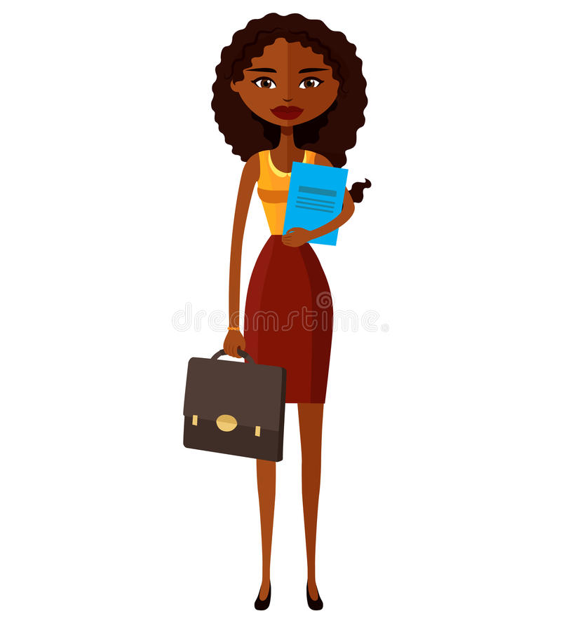 African banker or worker lady with briefcase flat cartoon vector stock photo