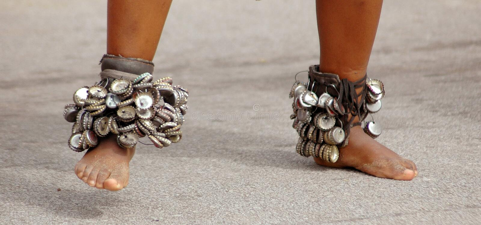 African bare feet dancing royalty free stock image