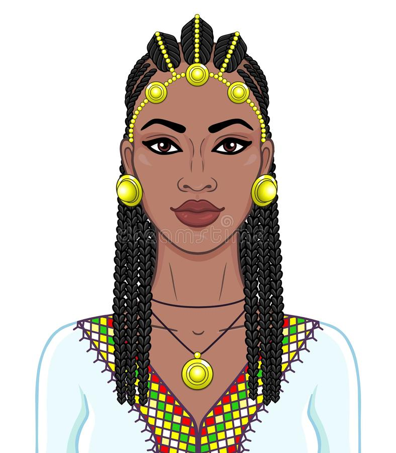 African beauty: animation portrait of the  beautiful black woman in a Afro-hair and gold jewelry. stock illustration