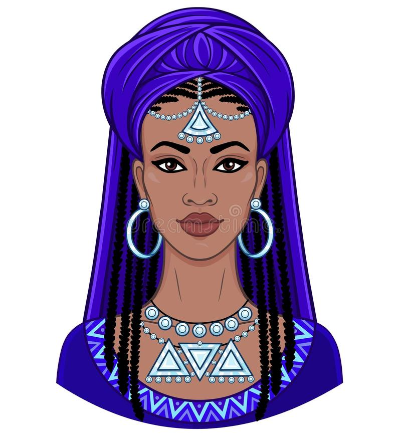 African beauty. Animation portrait of the young black woman in a turban. vector illustration