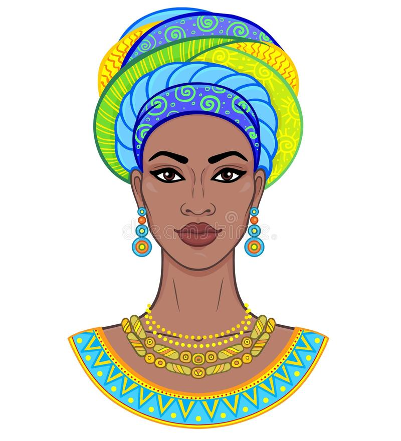 African beauty. Animation portrait of the young black woman in a turban. Vector color illustration isolated on a white background. Print, poster, t-shirt, card stock illustration