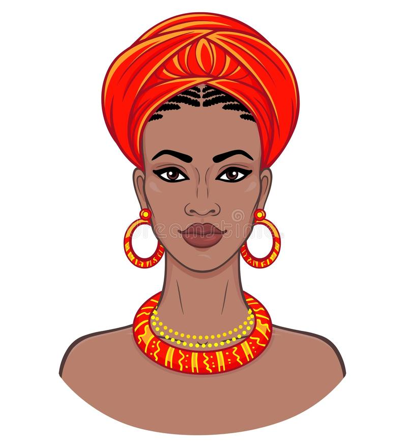 African beauty. Animation portrait of the young black woman in a turban. royalty free illustration