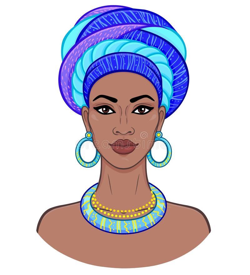 African beauty. Animation portrait of the young black woman in a turban. stock illustration