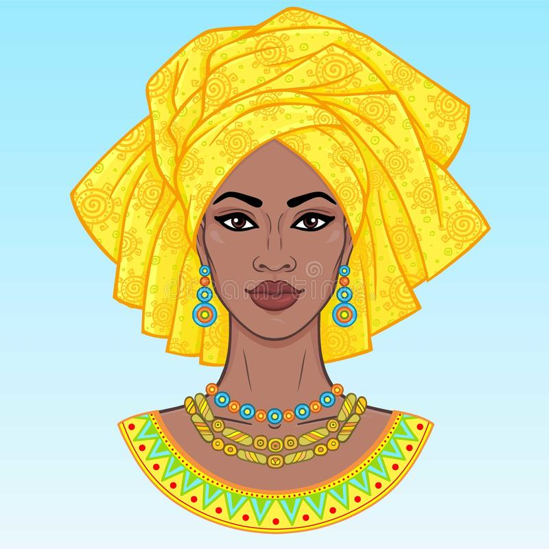 African beauty. An animation portrait of the young black woman in a turban. vector illustration