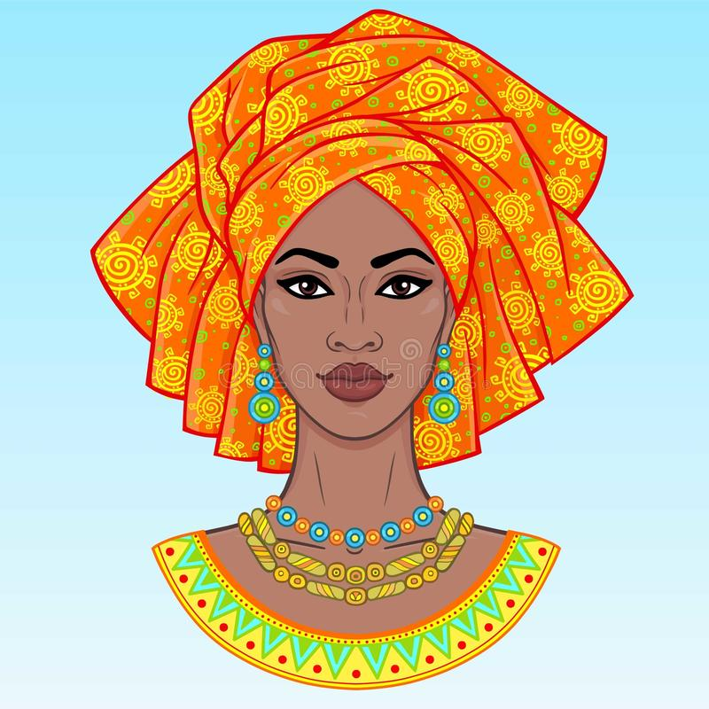 African beauty. An animation portrait of the young black woman in a turban. Vector illustration isolated on a blue background. Print, poster, t-shirt, card royalty free illustration