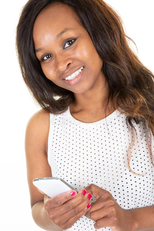 African beauty happy smile stylish woman using smart phone stock images