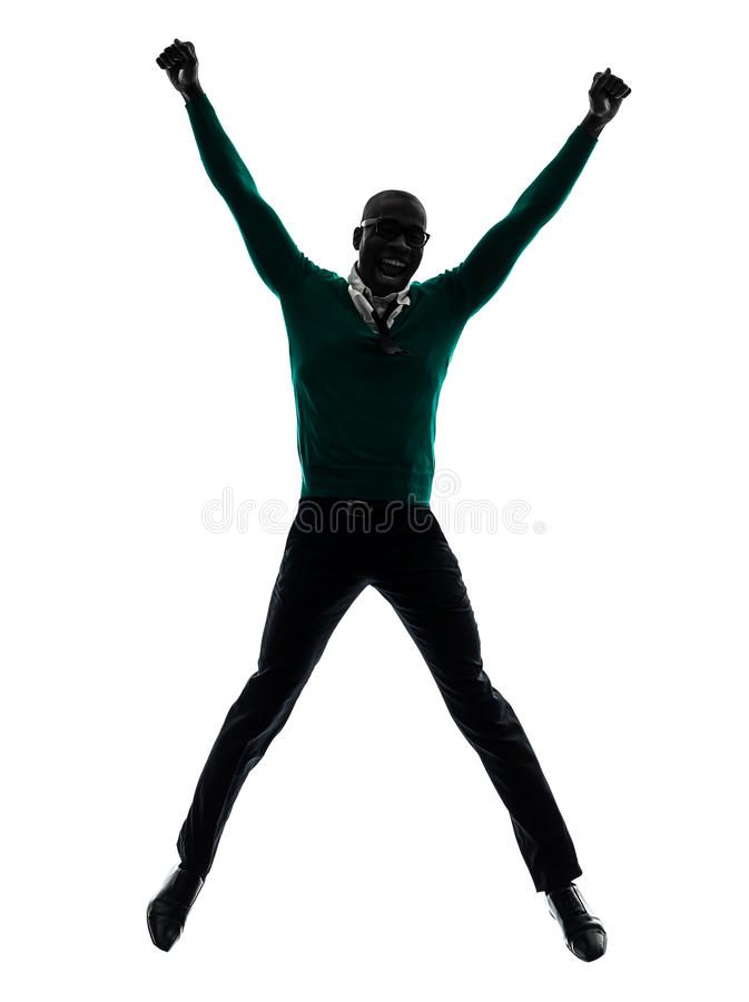 Download African Black Man Jumping Happy Silhouette Stock Image - Image: 31121073