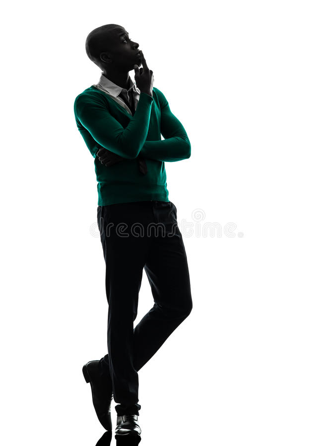 African black man thinking pensive silhouette royalty free stock images