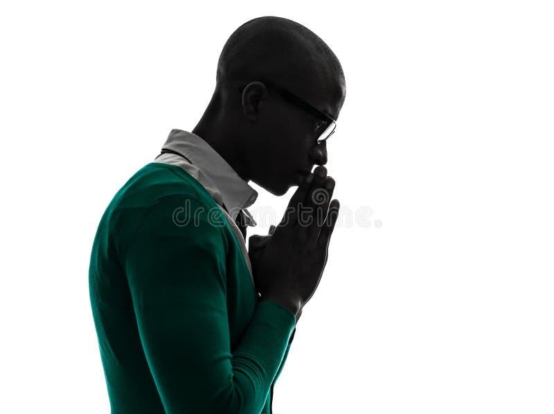 African black muslim man praying silhouette royalty free stock images