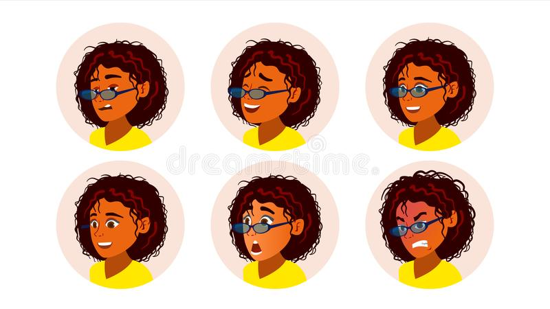 African Black Woman Avatar Vector. African American Woman Face, Emotions Set. Character Business People. Cartoon vector illustration