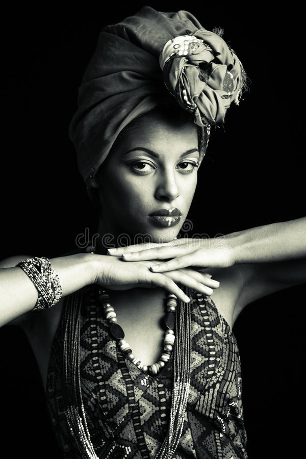 African black young woman beauty portrait with turban headscarf stock image