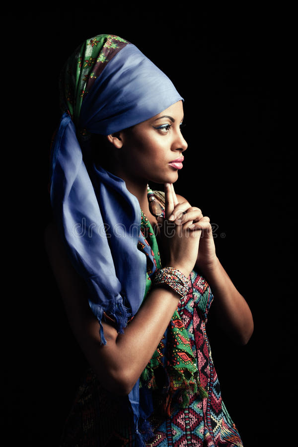 African black young woman beauty portrait with turban profile st royalty free stock photography