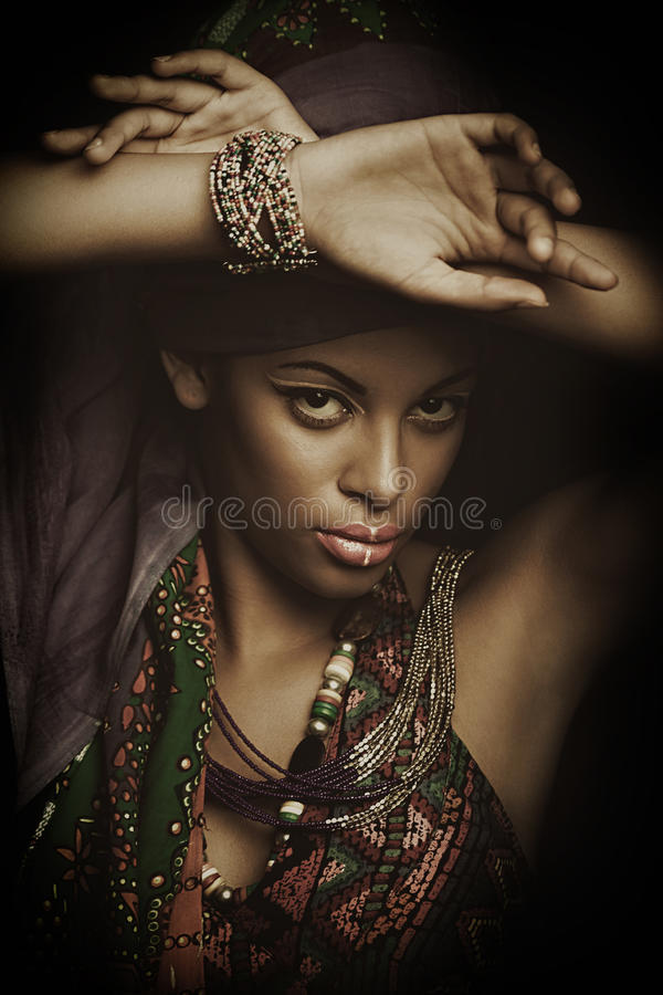 African black young woman beauty portrait with turban studio shot royalty free stock image