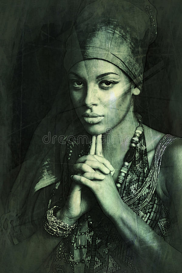 African black young woman beauty portrait with turban texture ad royalty free stock images