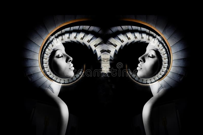 African black young woman portrait double exposure stock images