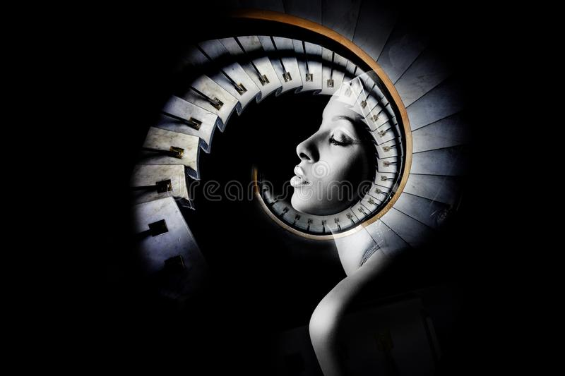 African black young woman portrait double exposure royalty free stock photography