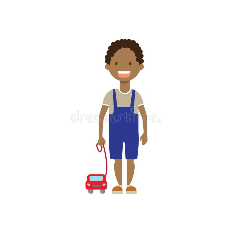 African boy brother with toys full length avatar on white background, successful family concept, flat cartoon. Vector illustration vector illustration