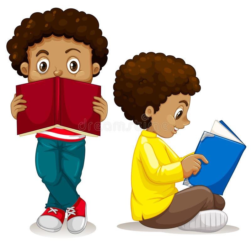 African boy reading book. Illustration royalty free illustration