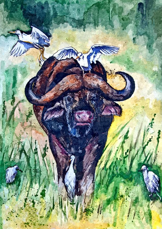 African Buffalo. Painting wet watercolor on paper. Naive art. Abstract art. Drawing watercolor on paper. royalty free illustration