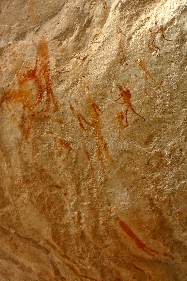 African bushman's rock art paintings in mountains stock photography