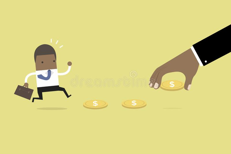 African business hand use money to entice businessman, bait or financial trap. royalty free illustration