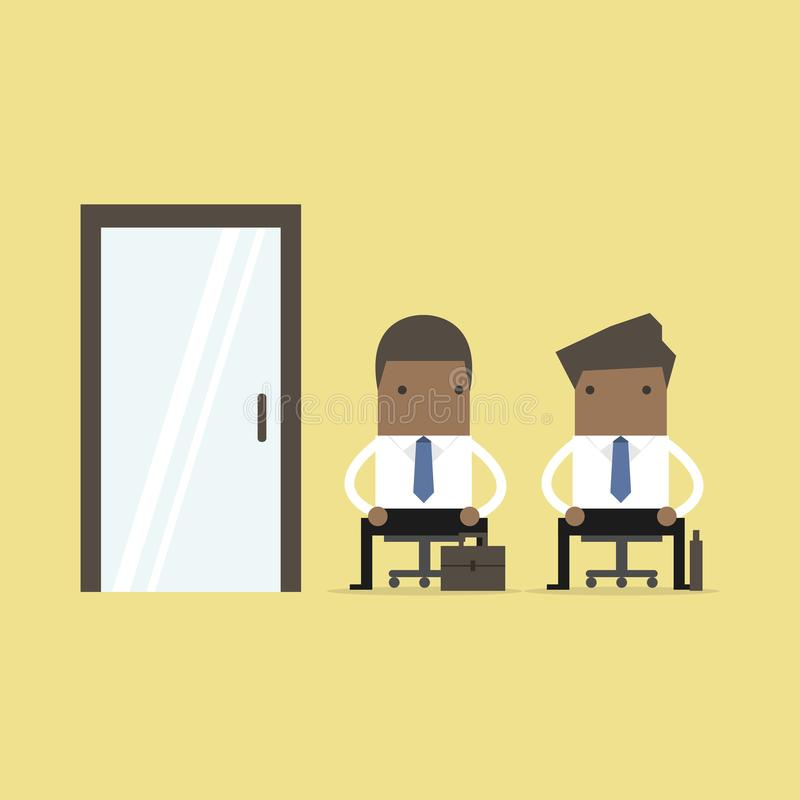 African business people waiting for job interview, recruitment. vector illustration