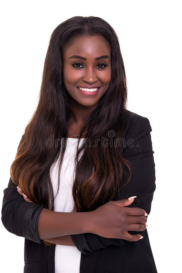 African business woman. Beautiful african business woman posing isolated over white background stock photo