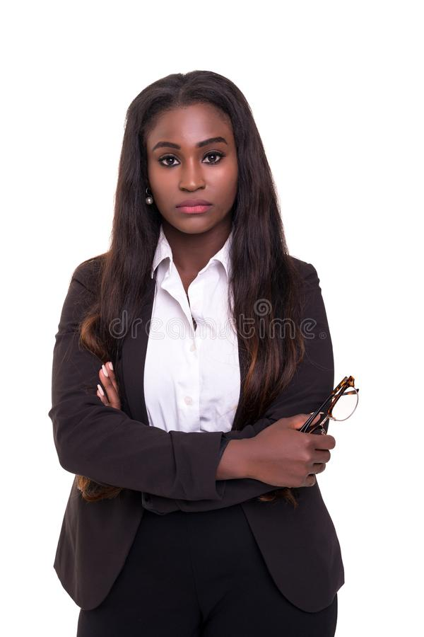 African business woman. Beautiful young african business woman posing isolated over white royalty free stock photography