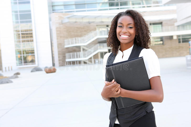 African Business Woman with Binder stock photo