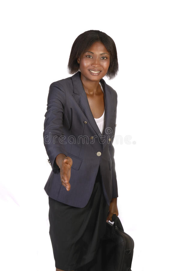 African Business Woman hand shaking. Studio shot, Cameroon stock photography