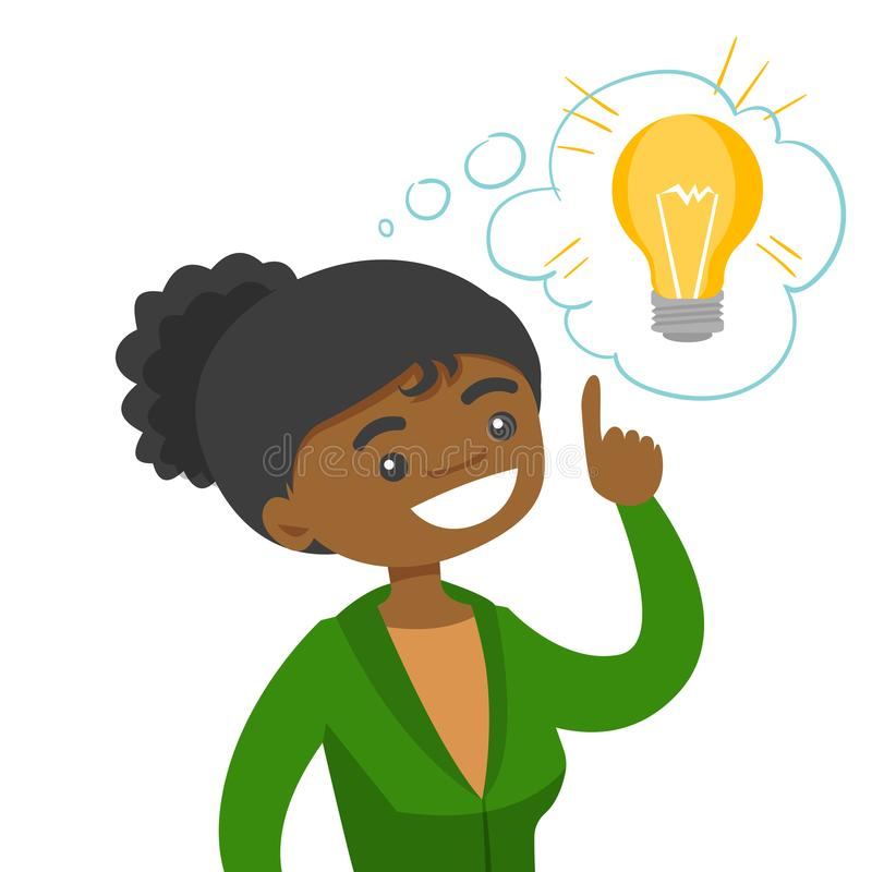 African business woman having business idea. Excited young african-american business woman pointing finger up at the bright idea light bulb. Concept of creative royalty free illustration