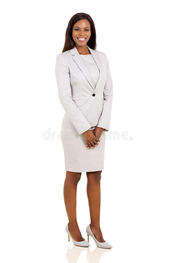 African business woman. Modern african business woman isolated on white background royalty free stock photography