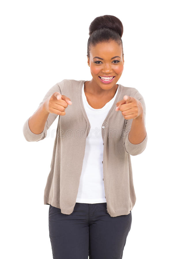 African business woman pointing. Happy african business woman pointing at the camera stock images