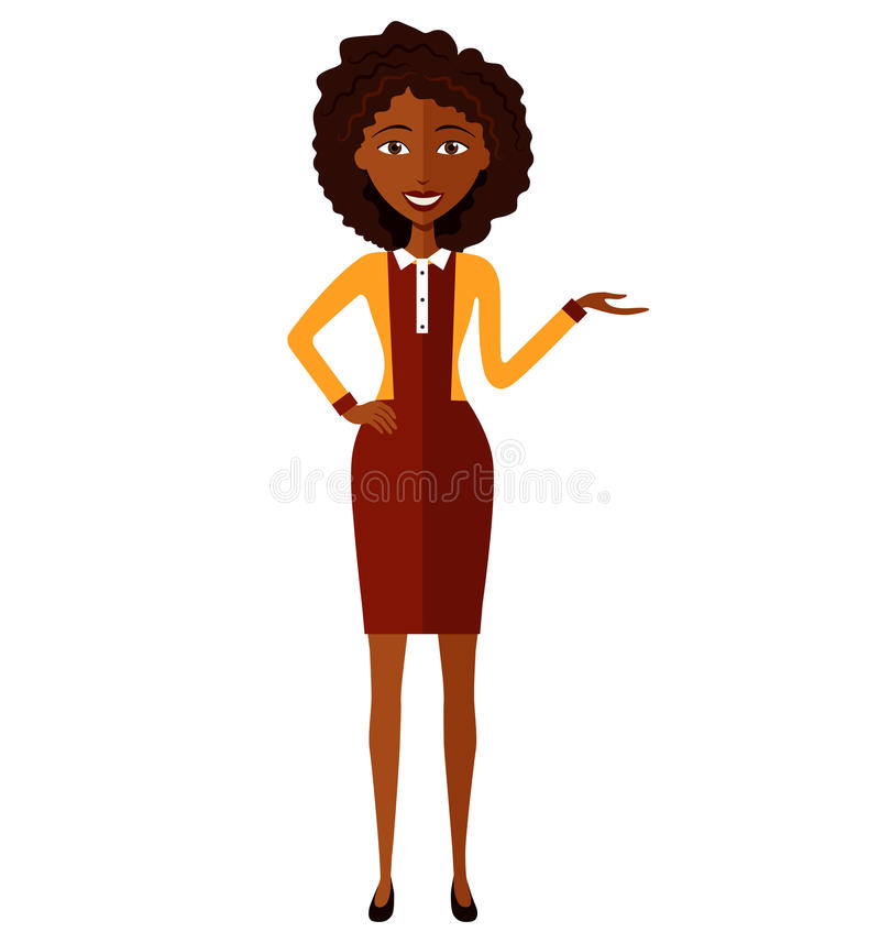African business woman presents something cartoon vector illustration isolated on white royalty free stock photo