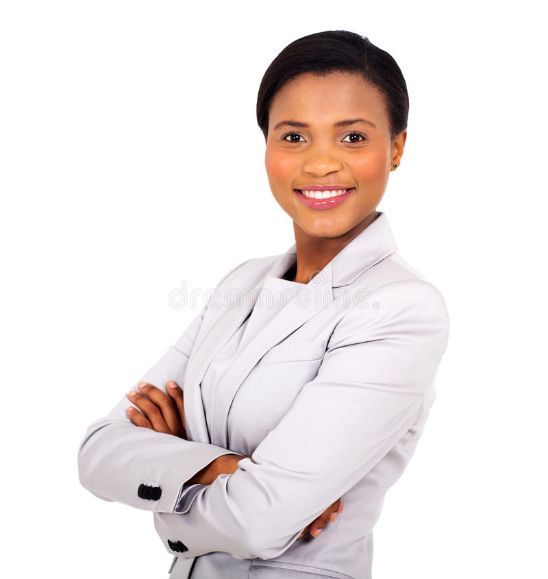 African business woman. Pretty african business woman with arms crossed on white background stock photography