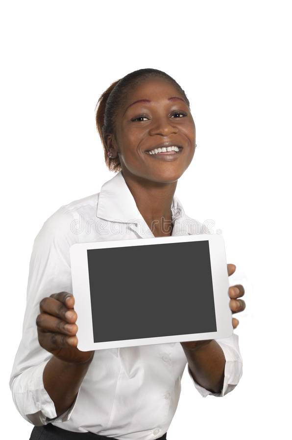 African Business Woman with Tablet PC, Free Copy Space. Studio Shot stock image