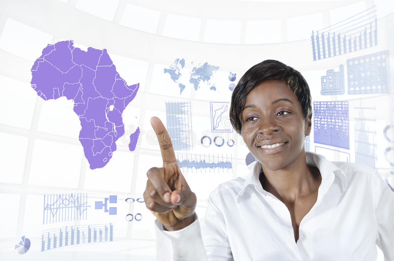 African business woman working in virtual environment. Studio Shot royalty free stock photography