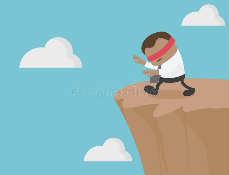 African businesses are blindfolded. way to the cliff. Scams and vector illustration