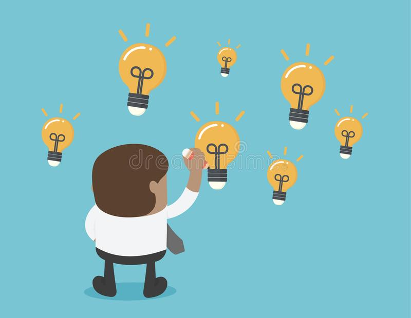 African businesses draw a lot of light bulbs, indicating he has royalty free illustration