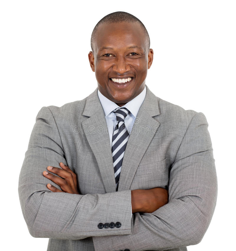 African businessman arms crossed. Happy african businessman with arms crossed stock photos