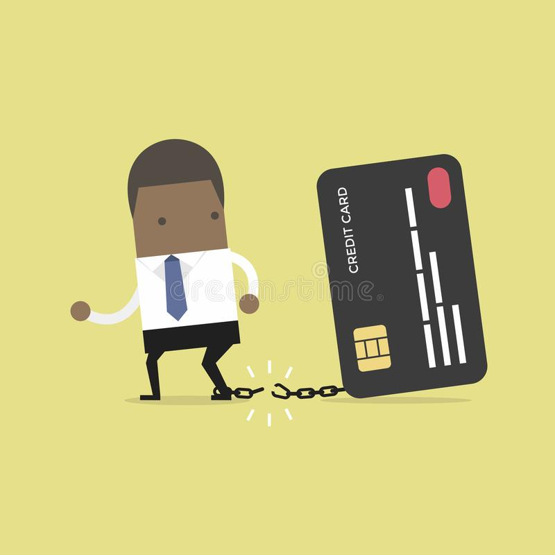 African businessman breaks free from the chain to bank credit card. vector illustration