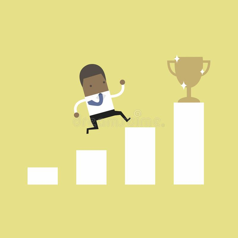 African businessman climbing ladder to success. Motivation and goal concept to be successful in business and life. royalty free illustration