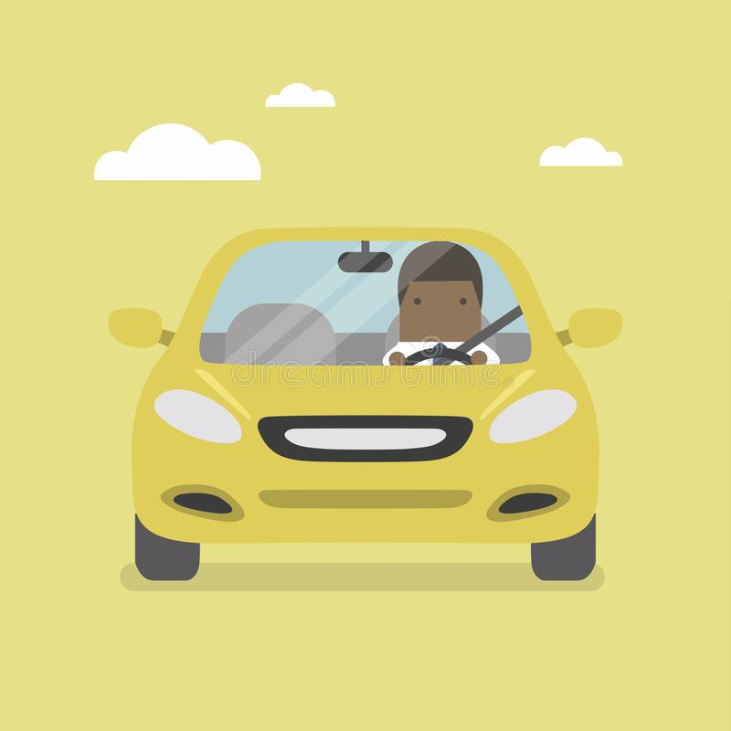 African businessman driving yellow car on the road. royalty free illustration