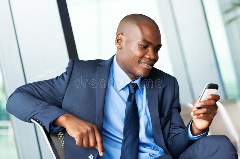 African businessman emailing royalty free stock photos