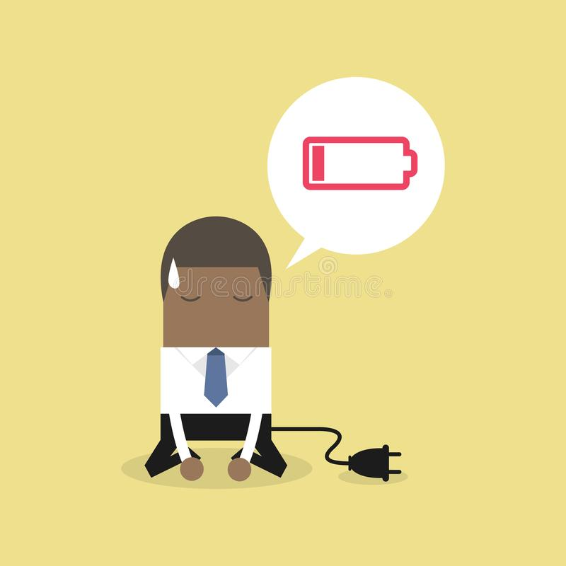 African businessman feeling tired and low battery. Vector stock illustration