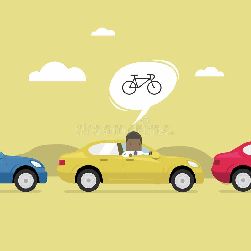 African businessman finding money.African businessman on the road with traffic jam, Thought to work by bike better. African businessman on the road with traffic vector illustration