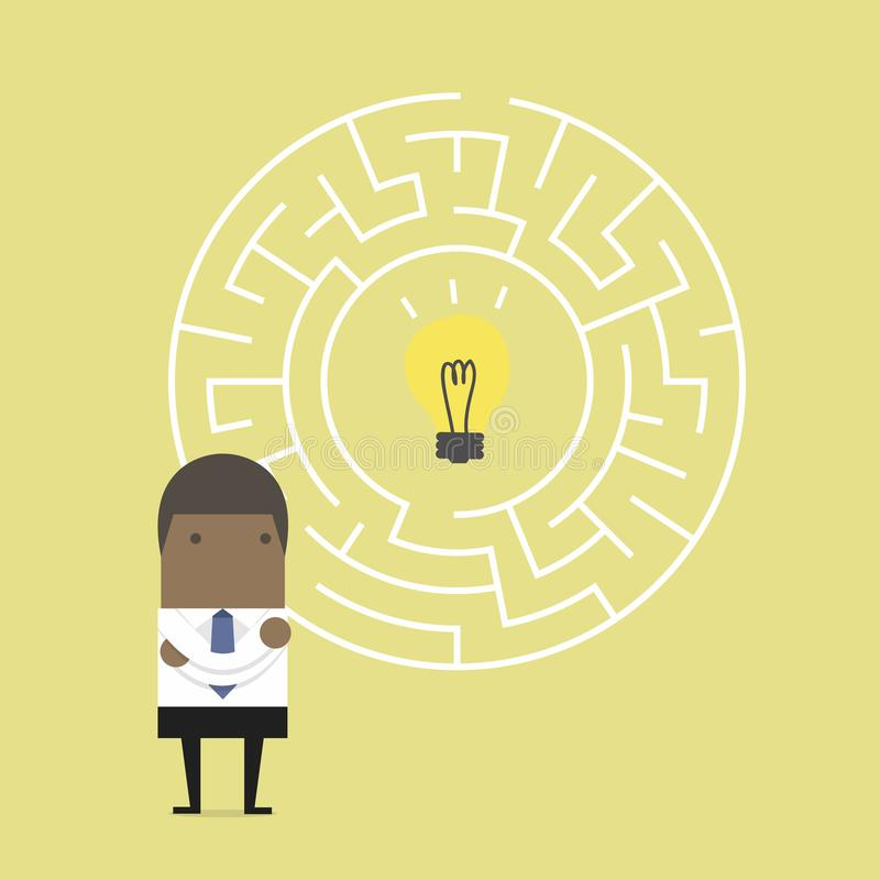 African businessman in front of a huge maze and finding direction to idea bulb. vector illustration