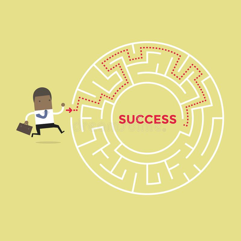 African businessman going to success in a maze. royalty free illustration